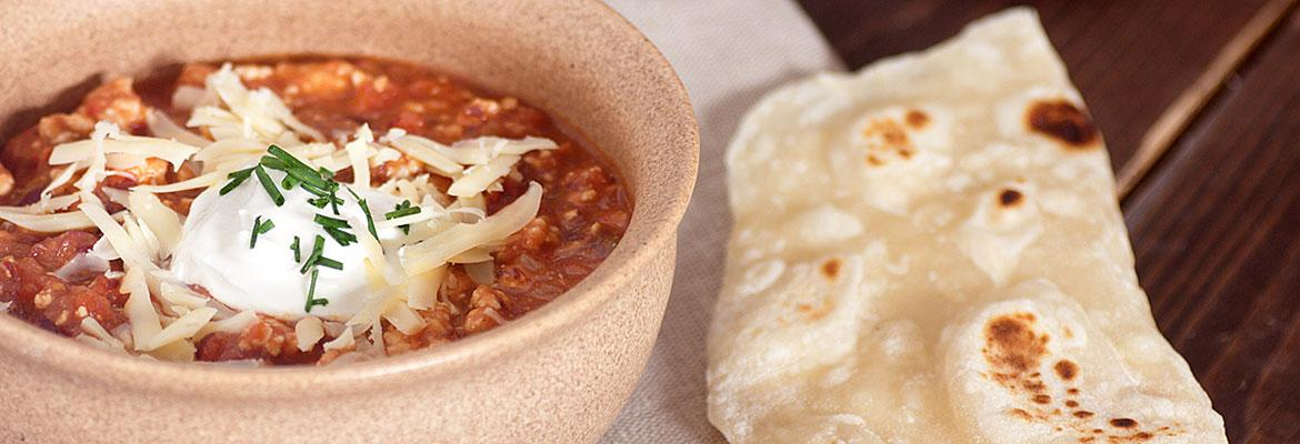 Bowl of Turkey Chili with Tortilla