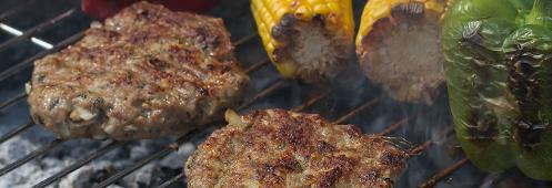 All natural ground turkey burgers on the grill